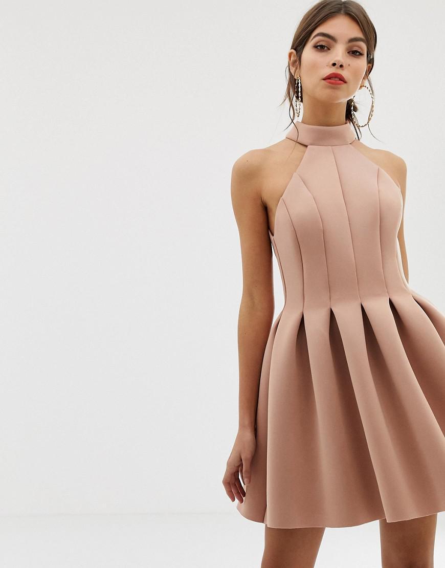 c8a74515efe04 ASOS - Brown Seamed Halter Mini Prom Dress - Lyst. View fullscreen