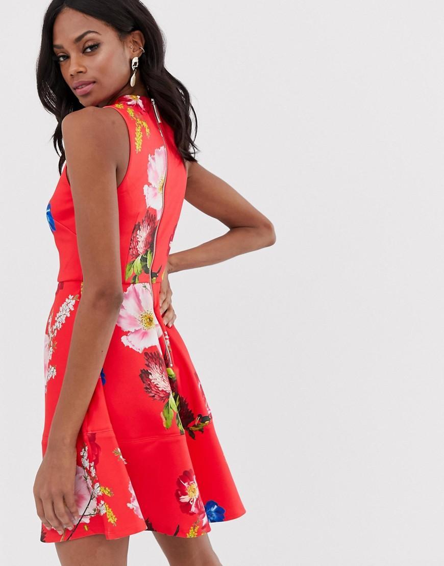 ae74c6591 Ted Baker Kinle Skater Dress In Berry Sundae Print in Red - Lyst