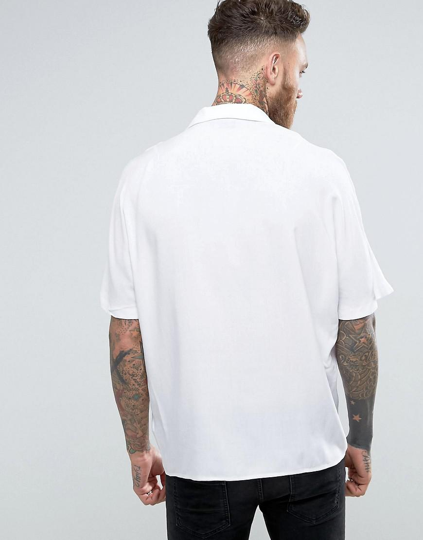 ASOS Synthetic Oversized Viscose Batwing Sleeve Shirt in White for Men