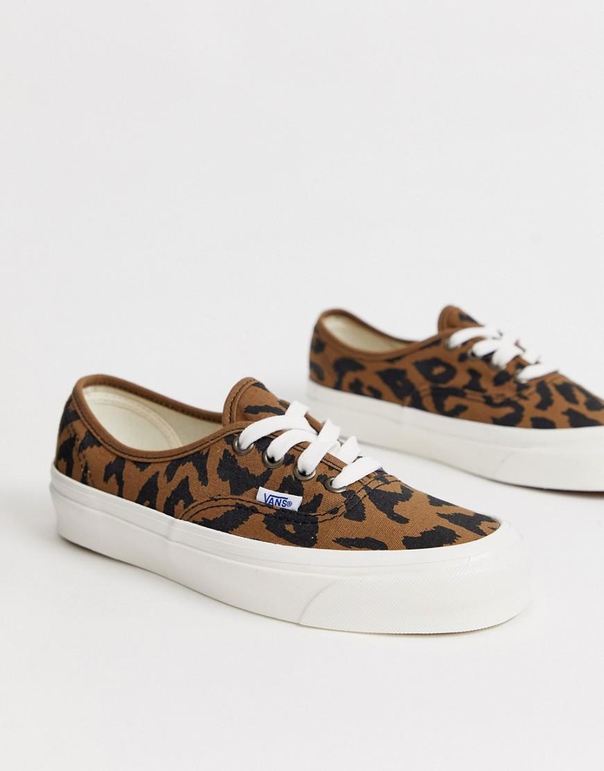 31ec2d29b0 Vans - Brown Authentic 44 Anaheim Leopard Print Trainers - Lyst. View  fullscreen