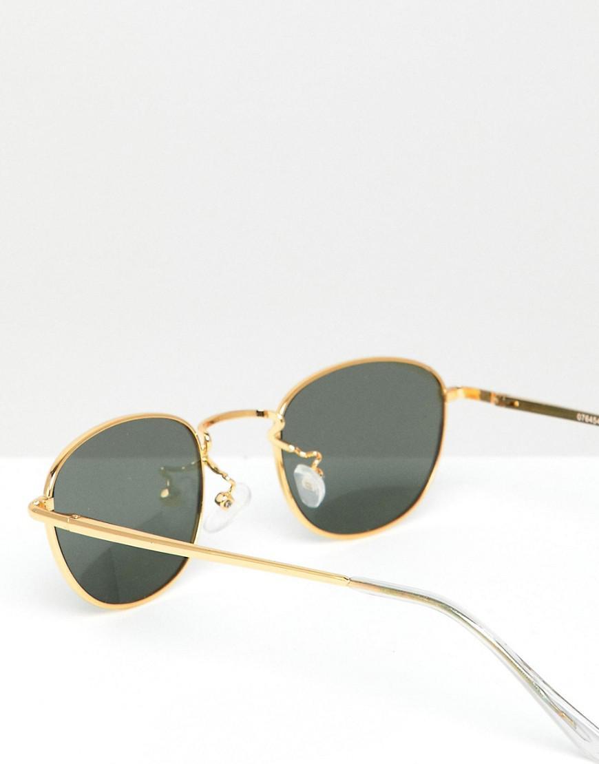 7083ad3ec4 Lyst - ASOS Oval Metal Sunglasses With Polarised Lens in Metallic