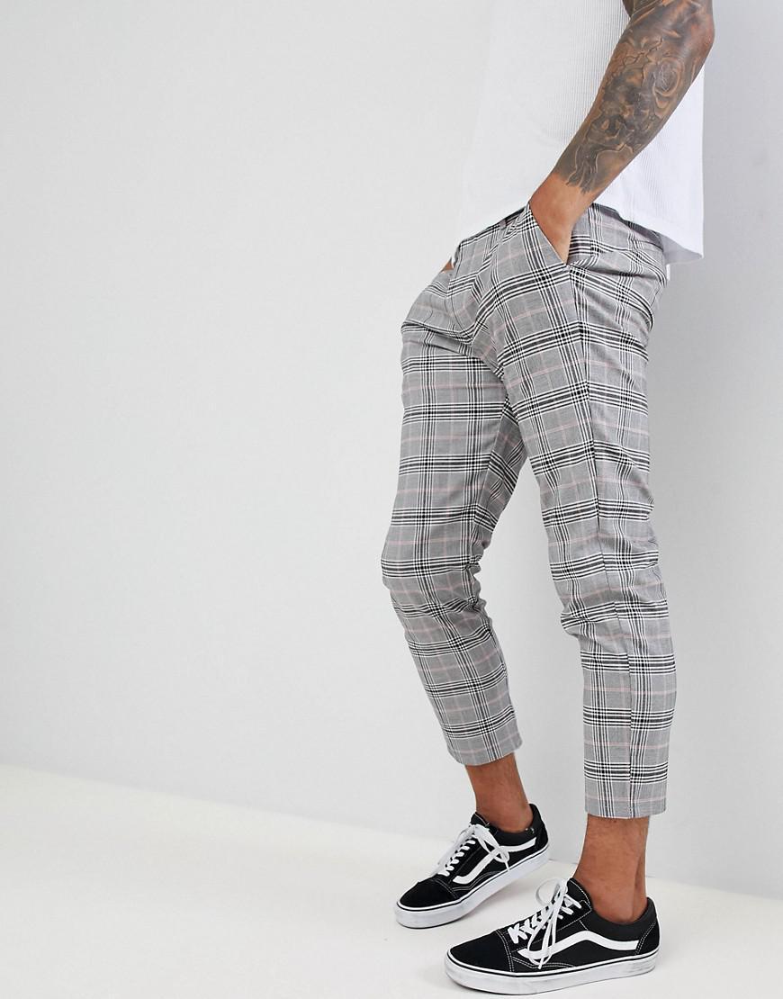 Bershka Denim Check Pants In Gray for