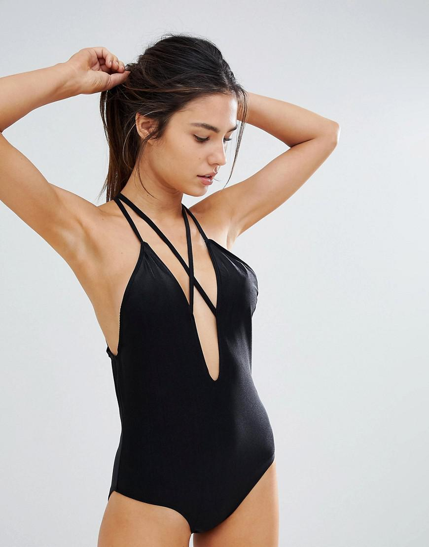 ad2ca71a31674 Lyst - UNIQUE21 Unique 21 Plunge Front Swimsuit With Strapping in Black