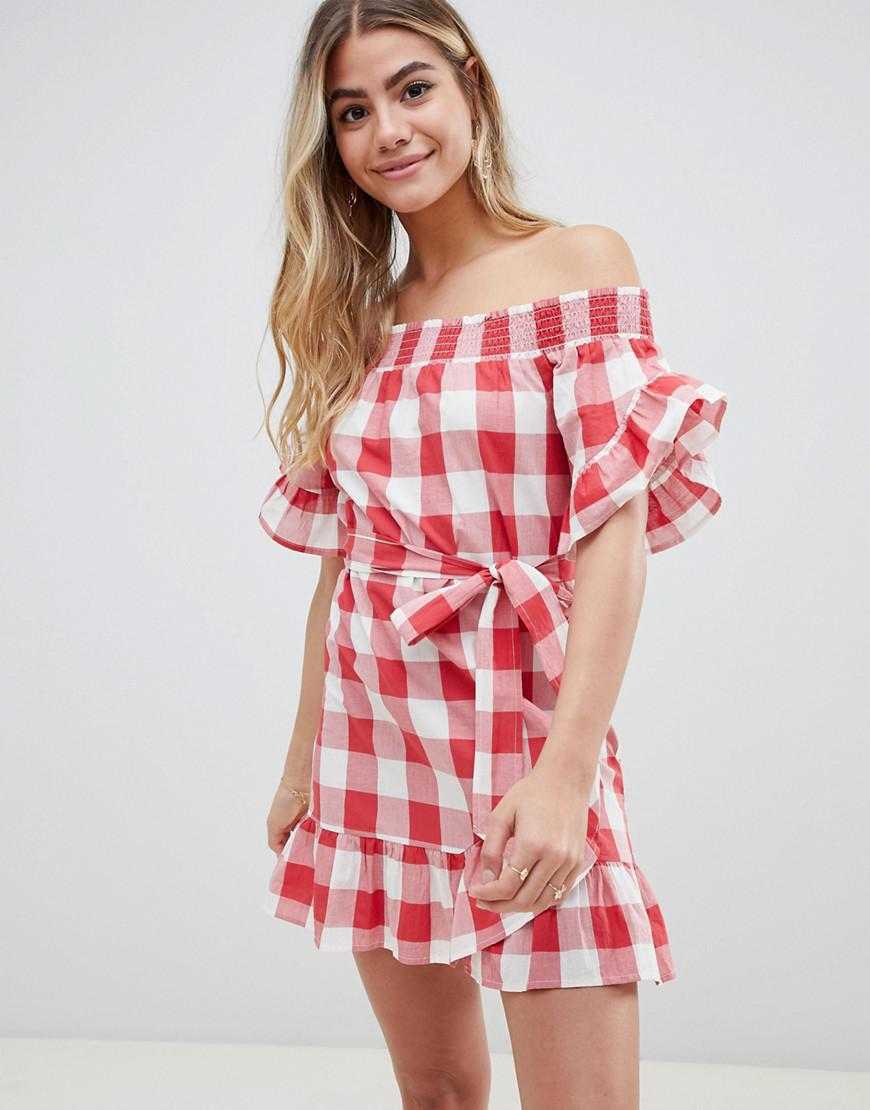 1b338ea7aea ASOS Off Shoulder Frill Detail Beach Dress In Red Gingham in Red - Lyst