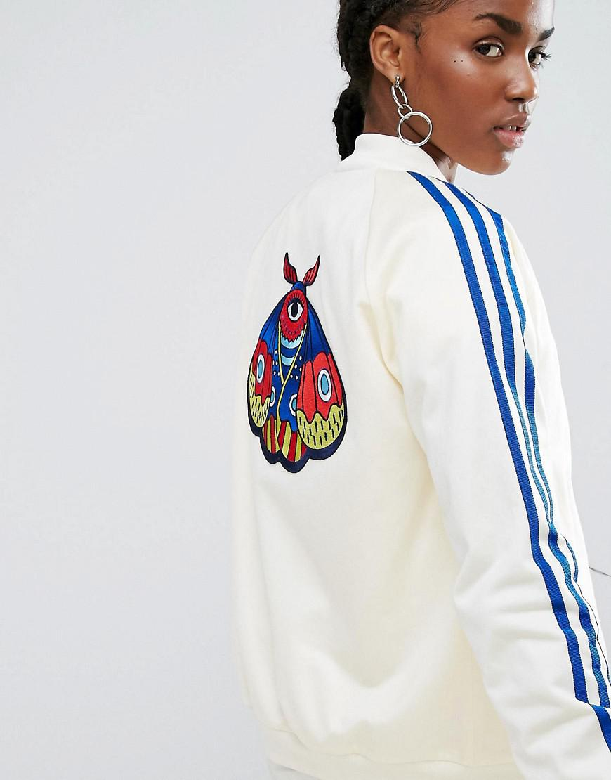 7d8884adc Adidas Originals Multicolor Originals Embellished Arts Bomber Jacket With  Butterfly Embroidery