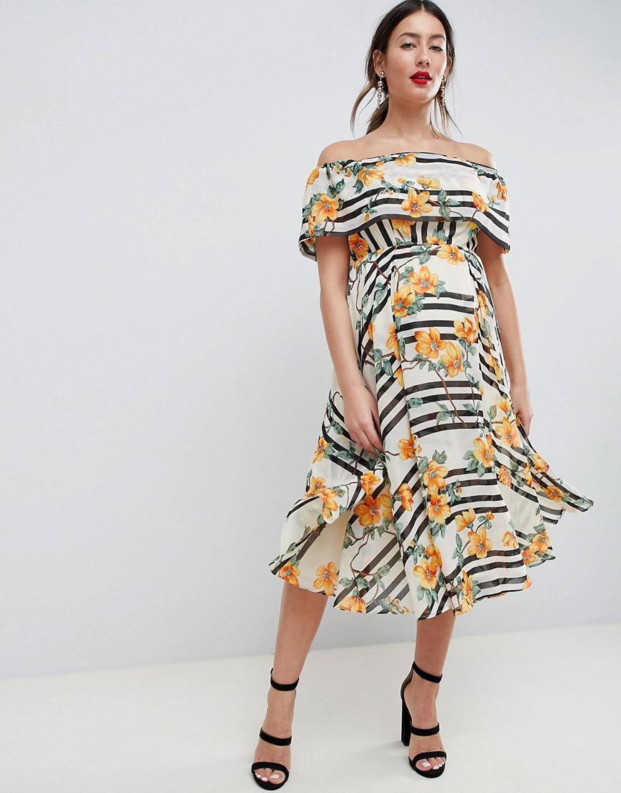 3ab995659ec ASOS. Women s Asos Design Maternity Soft Bandeau Midi Dress In Stripe And Floral  Print