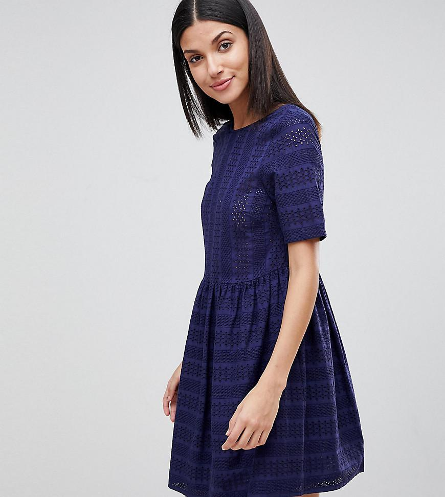 Women's Blue Mini Smock Dress .