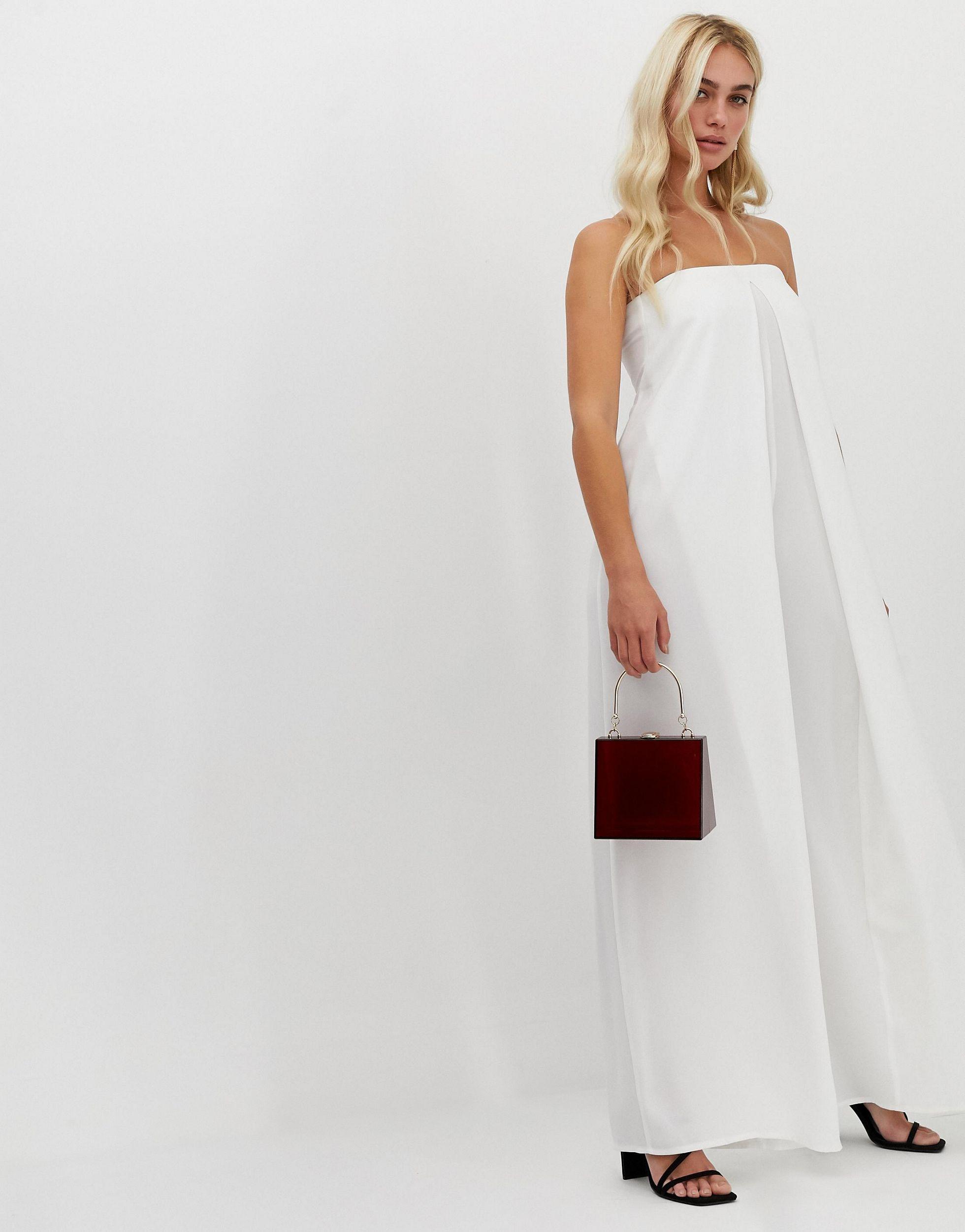 Combinaison bandeau minimaliste coupe large avec détail plissé Jean ASOS en coloris Blanc