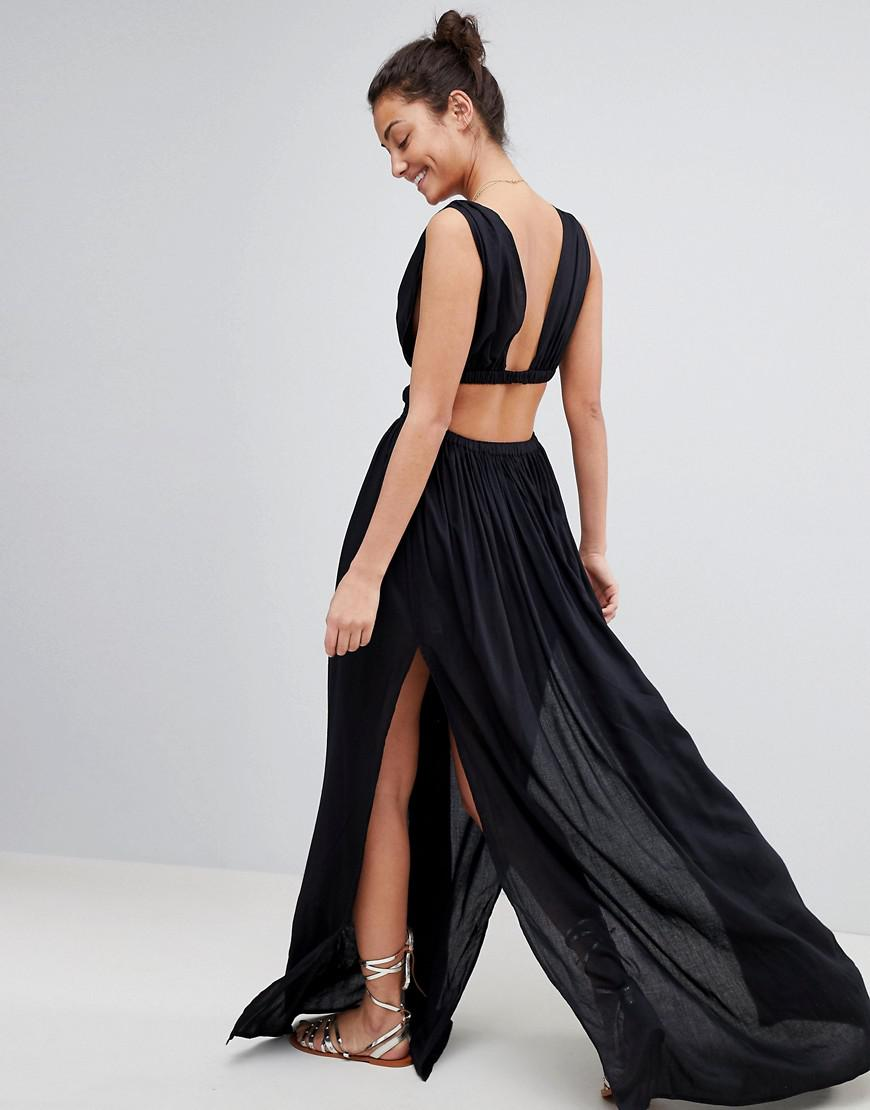 46c08423b8 ... Asos Design Tall Grecian Plunge Maxi Woven Beach Dress - Lyst. View  fullscreen