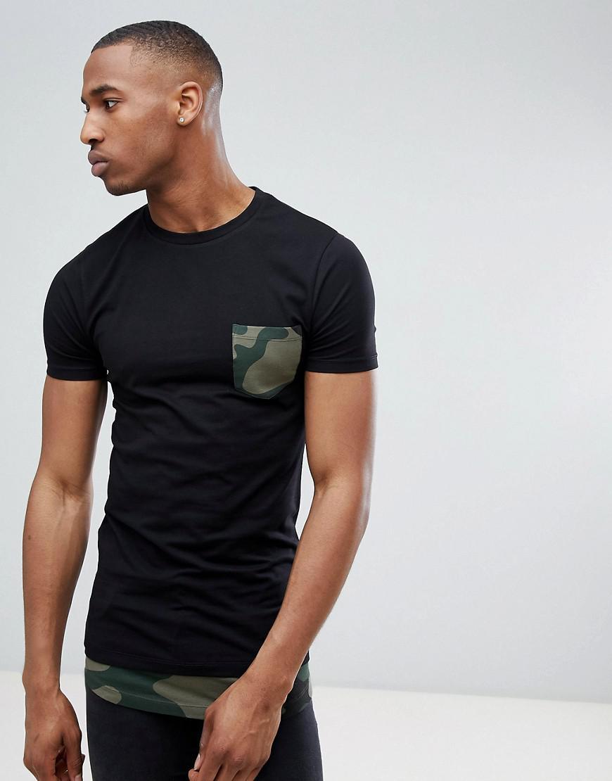f38cbd2b ASOS. Men's Black Super Longline Muscle Fit T-shirt With Camo Curved Hem ...