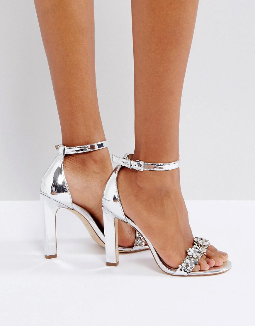 ALDO Leather Milaa Silver Embellished