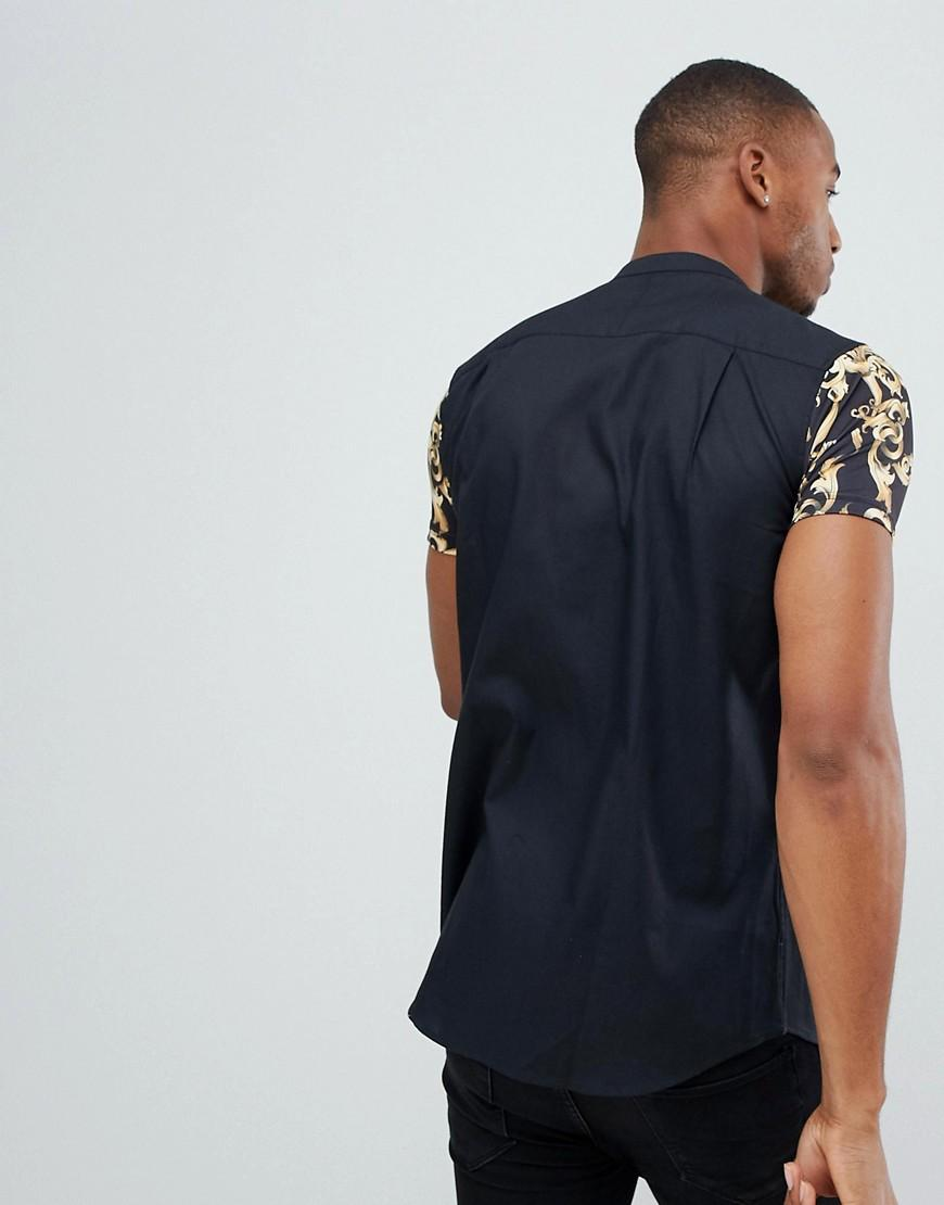 SIKSILK Synthetisch Overhemd Zonder Kraag Met Barokprint En Jersey Mouwen in het Blauw voor heren