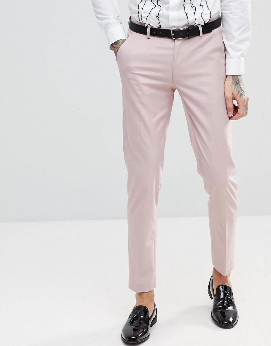 Skinny Tuxedo Suit Trousers In Pink Floral Sateen Print - Pink Asos 9L0vYDW04