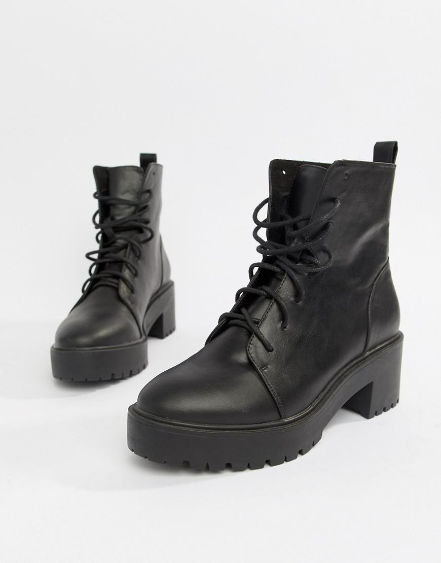 abf7793d1fa Women's Black Raider Chunky Lace Up Boots