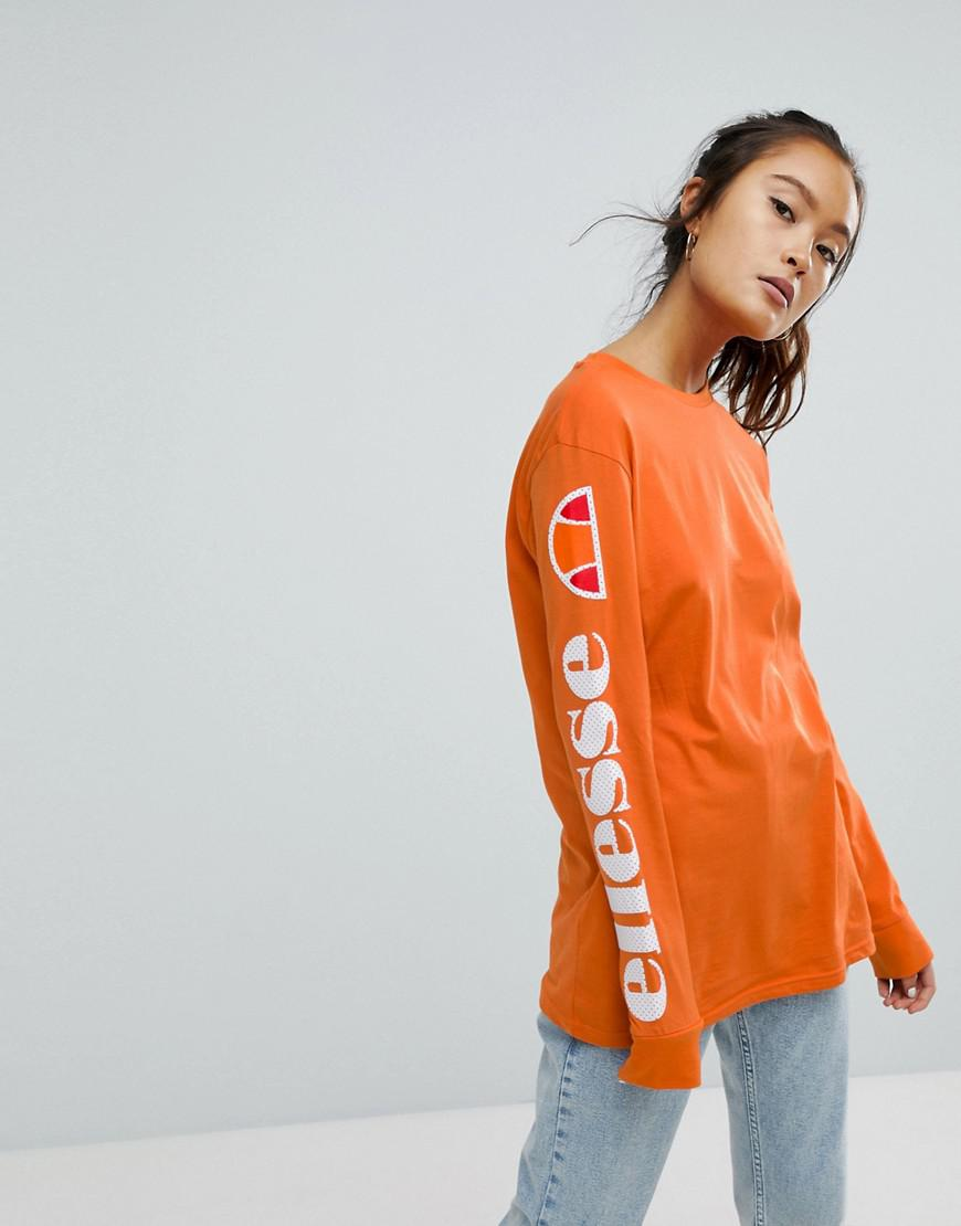 lyst ellesse long sleeve t shirt with sleeve print in orange. Black Bedroom Furniture Sets. Home Design Ideas