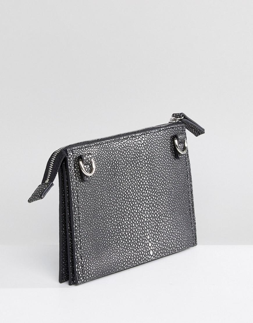 French Connection Textured Crossbody Bag in Grey (Grey)
