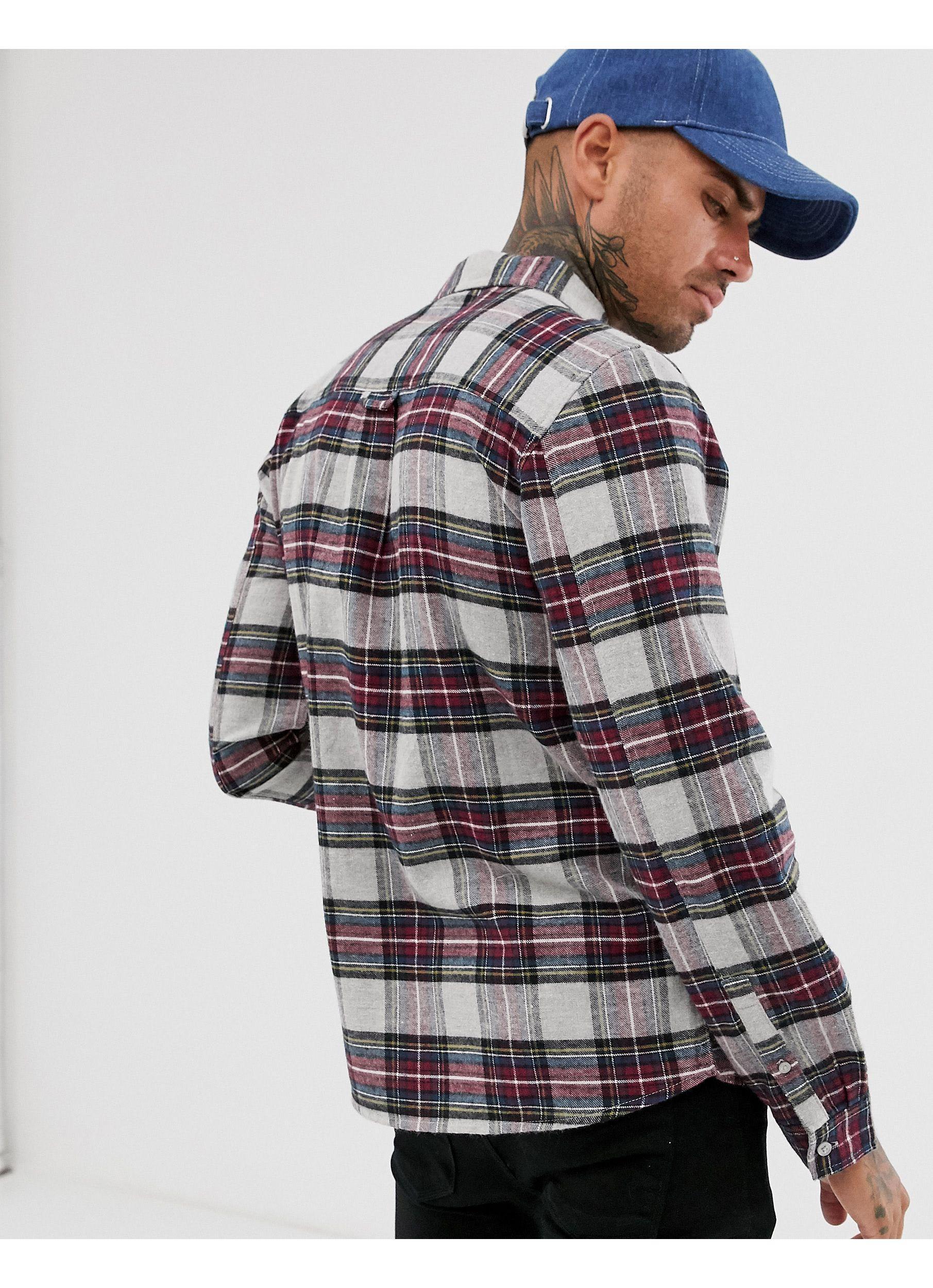 Another Influence Flanel Flanellen Regular-fit Overhemd Met Schotse Ruit in het Grijs voor heren