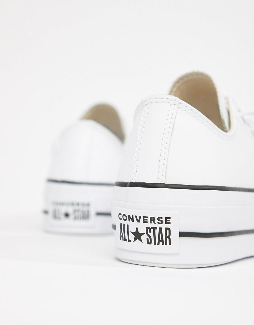 Lyst - Converse Chuck Taylor All Star Leather Platform Low Trainers In  White in White 8457dd8e4