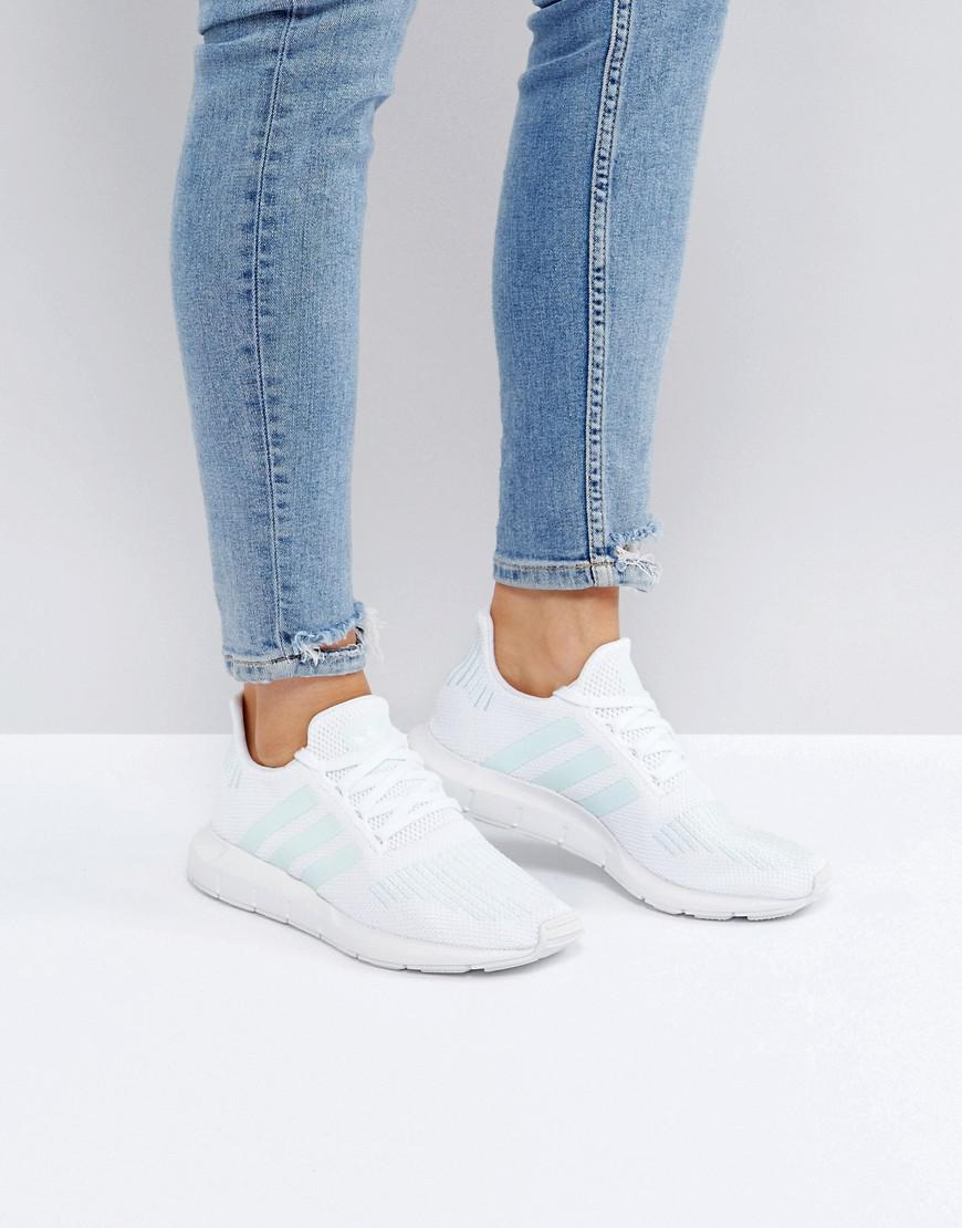 Adidas Originals Originals Swift Run Sneakers In White With Mint Stripe Lyst