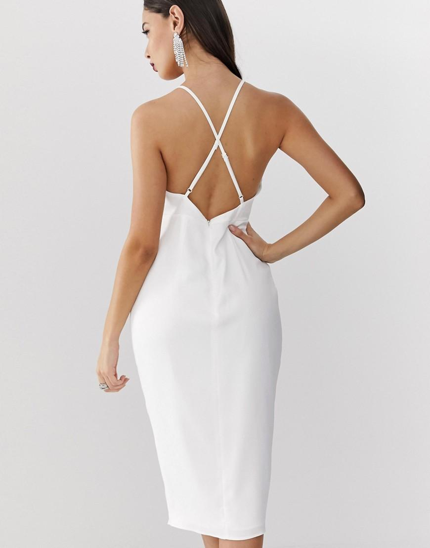 e137215ce996 Asos Midi Strappy Cami Dress With Knot Front Plunge In Satin in White - Lyst
