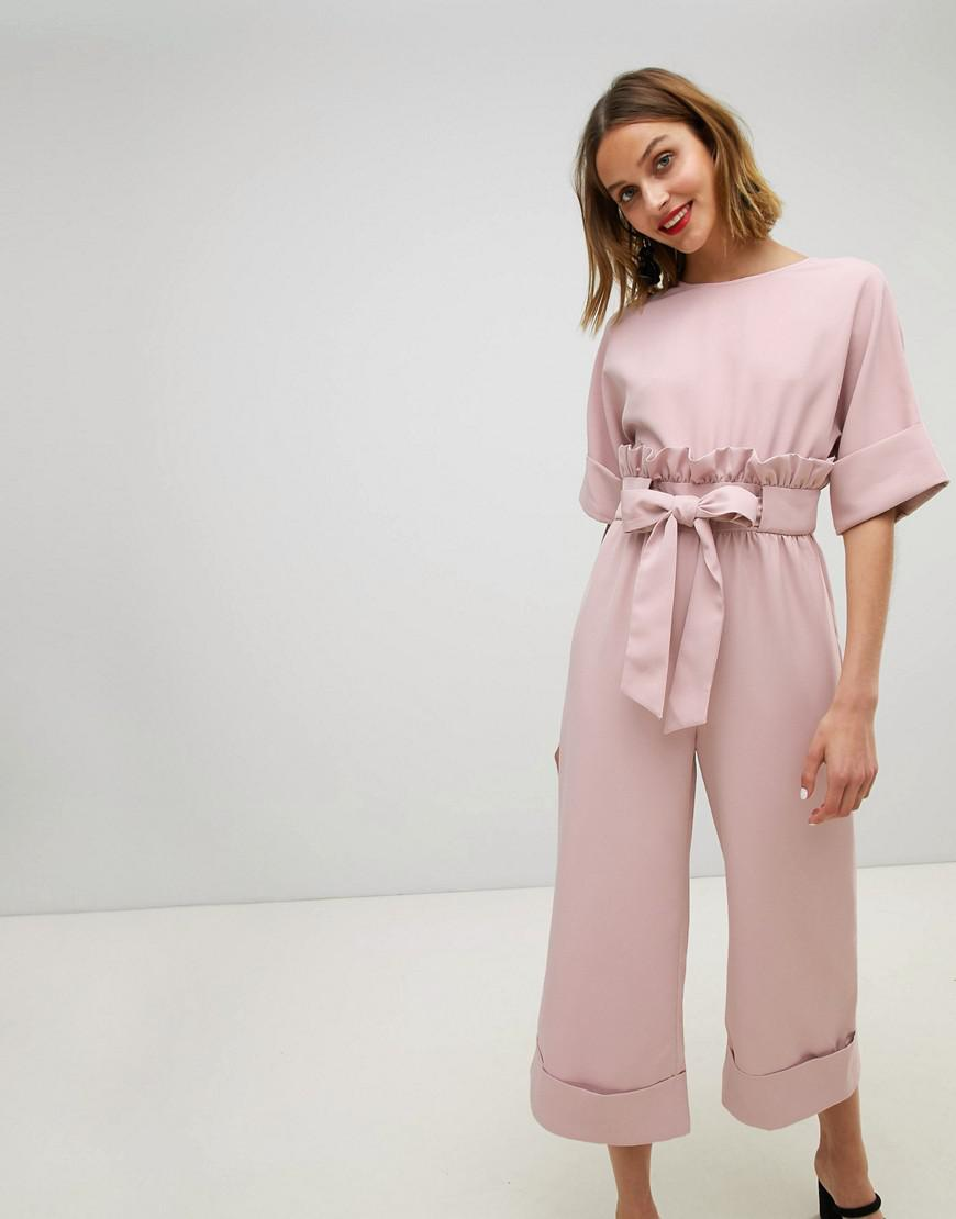 03019b3acbf Lyst - Lost Ink Wide Leg Jumpsuit With Tie Waist And Frill Detail in ...