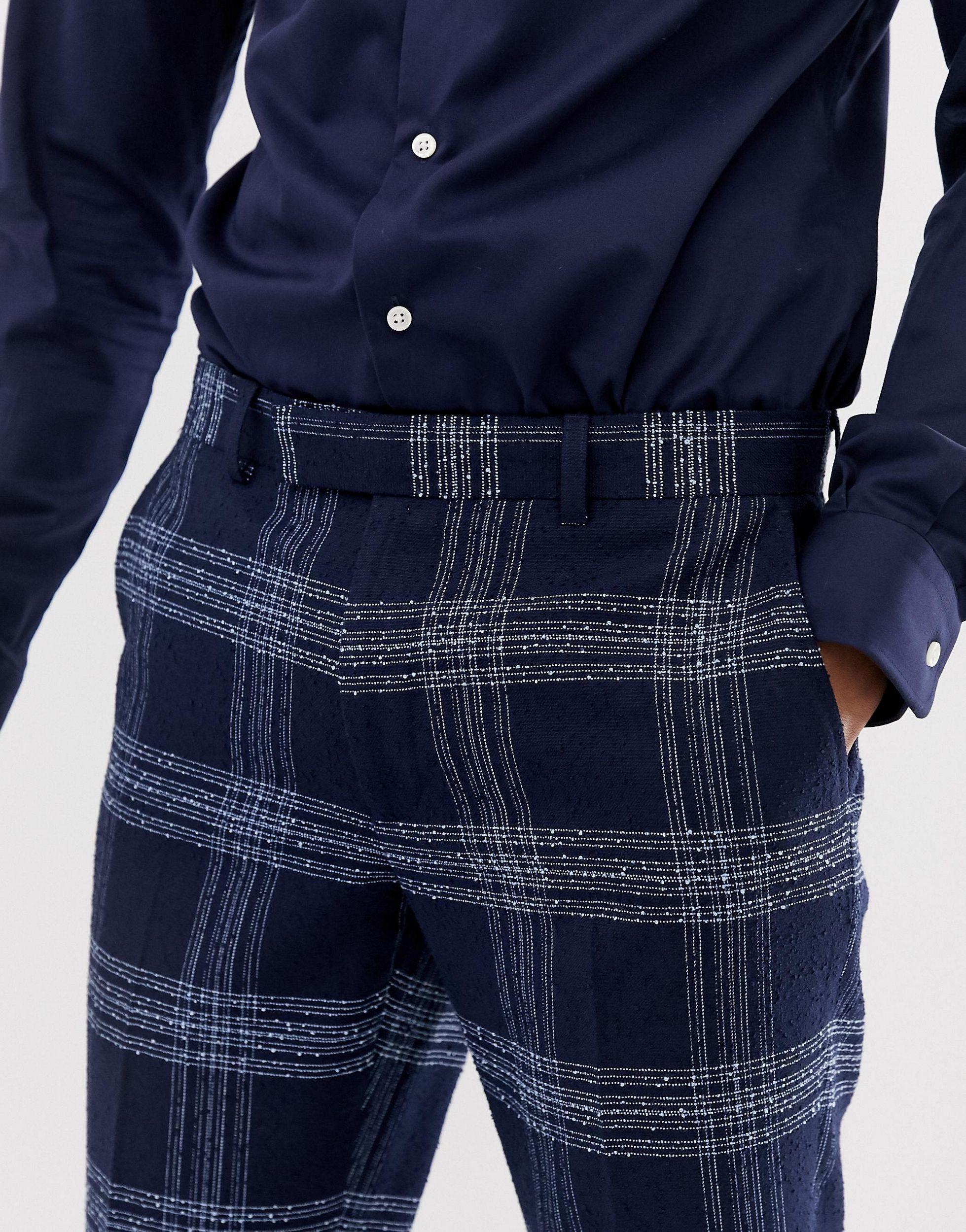 Moss Bros Synthetisch Moss London - Slim-fit Pantalon Met Blauwe Ruit in het Blauw voor heren