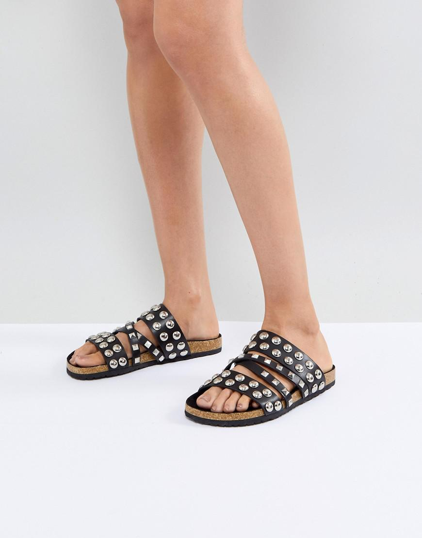 702022b3a10 ASOS Asos Fortune Studded Slider in Black - Lyst