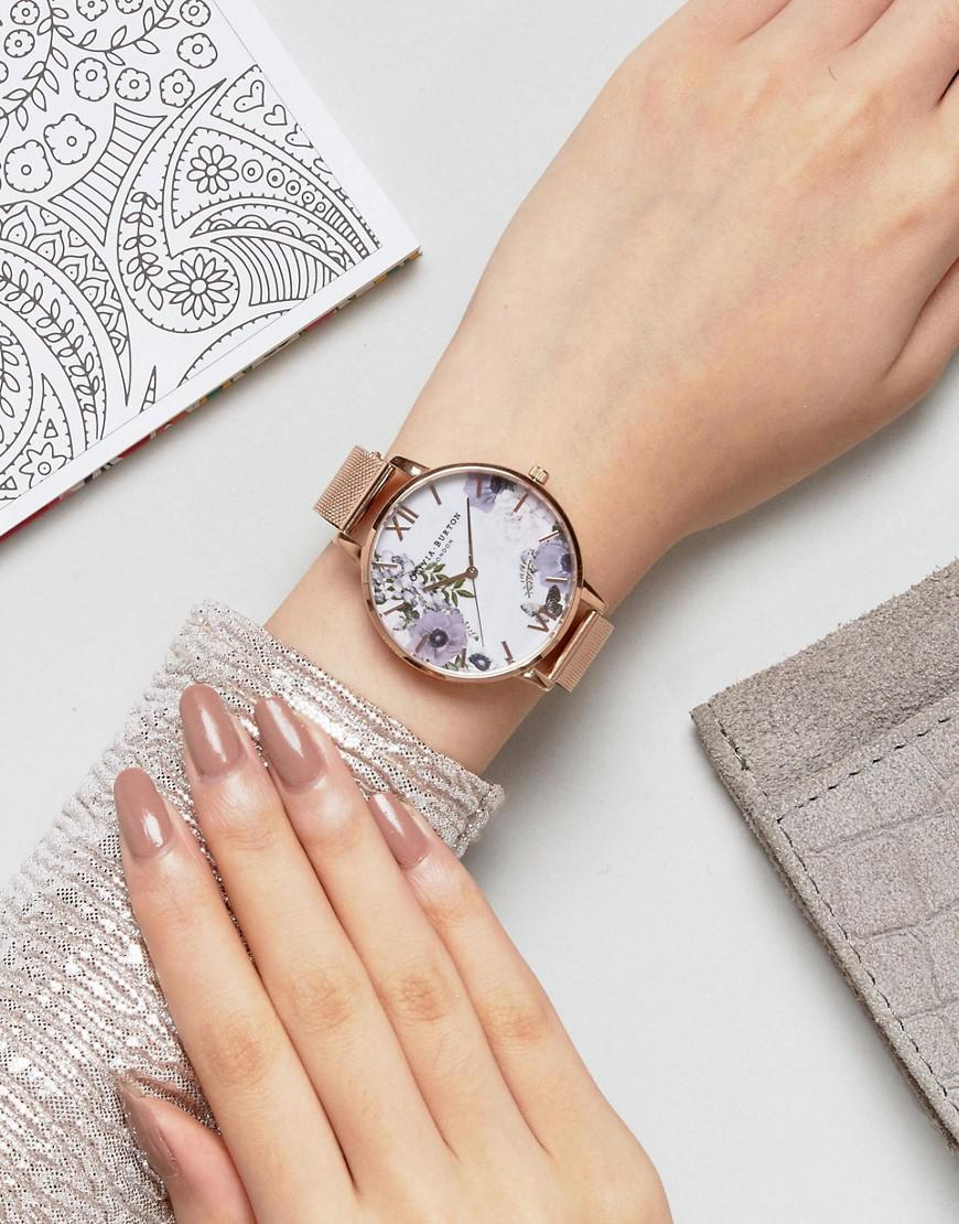 Olivia Burton Ob16mf06 Marble Floral Mesh Watch In Rose