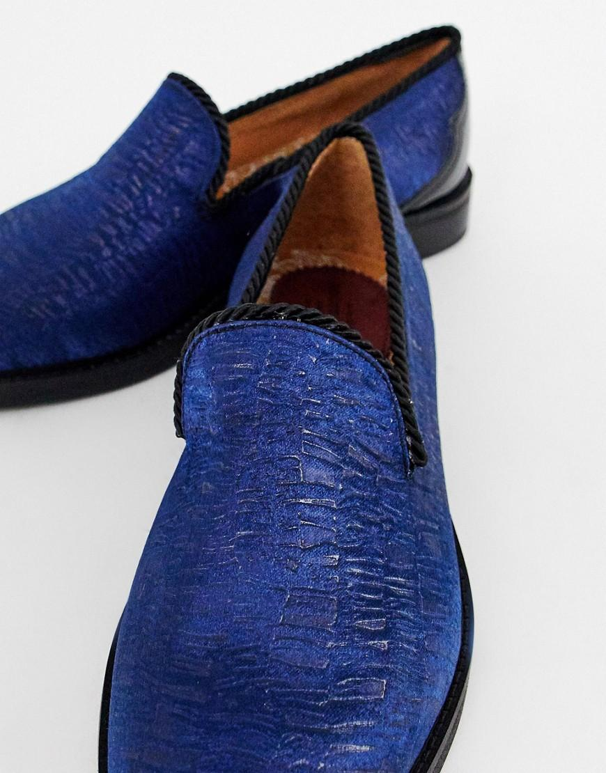 House Of Hounds Styx Loafers In Flocked Navy in Blue for Men
