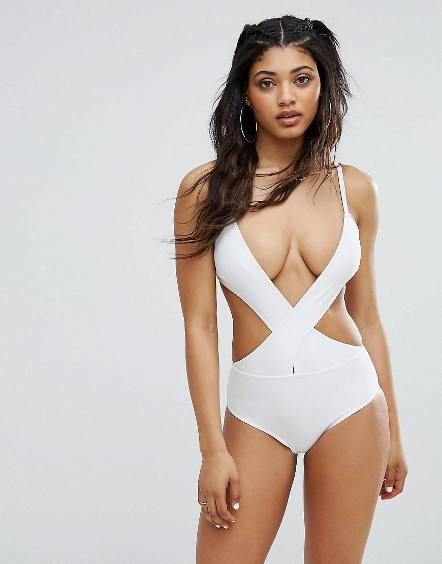 e0a4861c544 Lyst - Boohoo Cross Front Halter Swimsuit in White