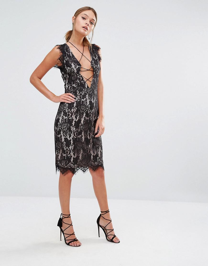 d2577523f047d Lyst - StyleStalker Sleeveless Allover Lace Midi Dress in Black