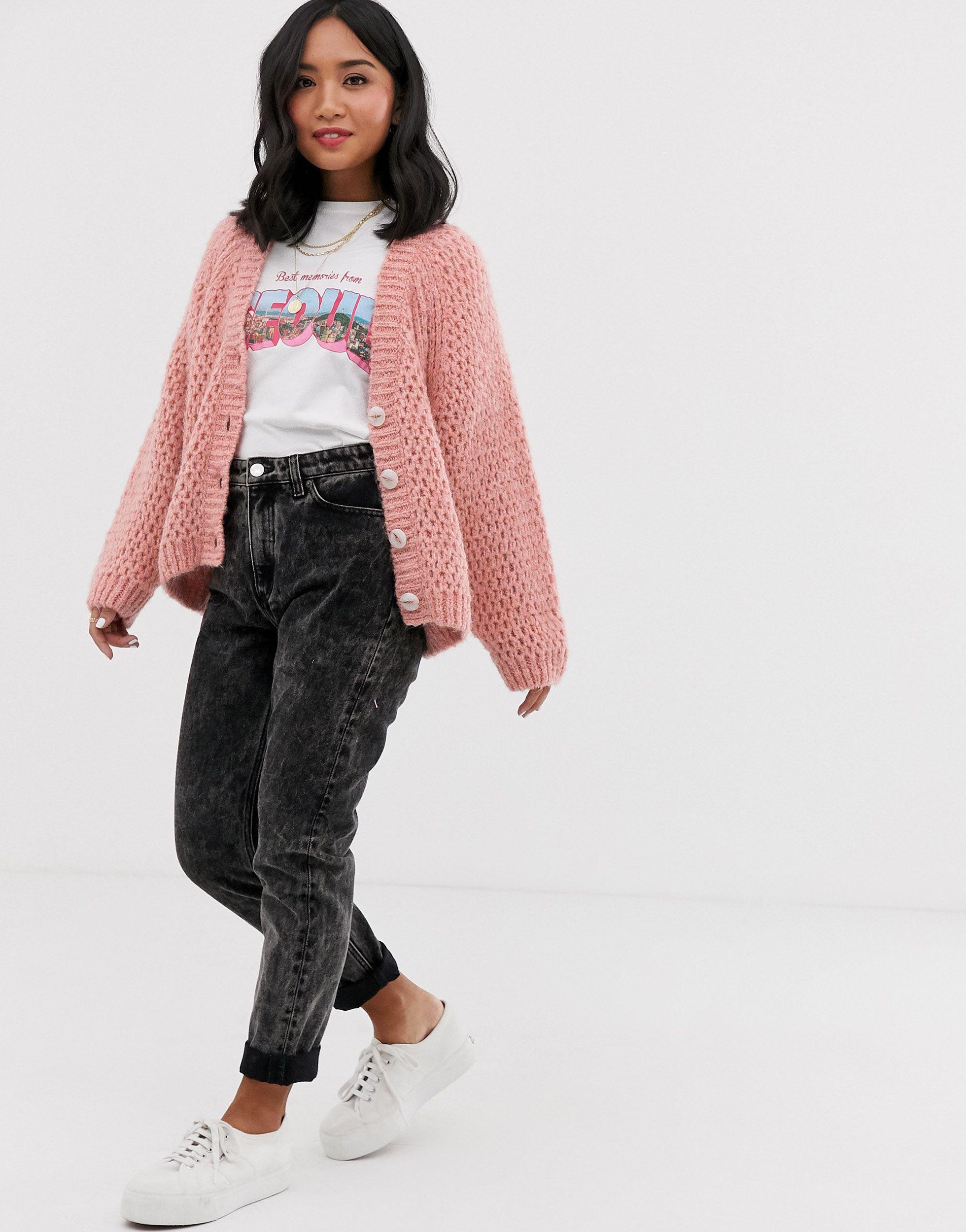 ASOS DESIGN Petite - Cardigan gaufré à manches volumineuses Synthétique ASOS en coloris Rose