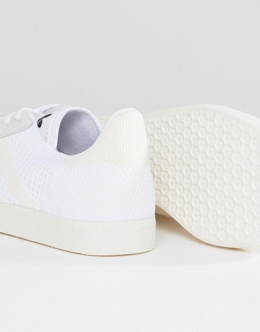 adidas Originals Suede Gazelle Primeknit Sneakers In White Bz0005