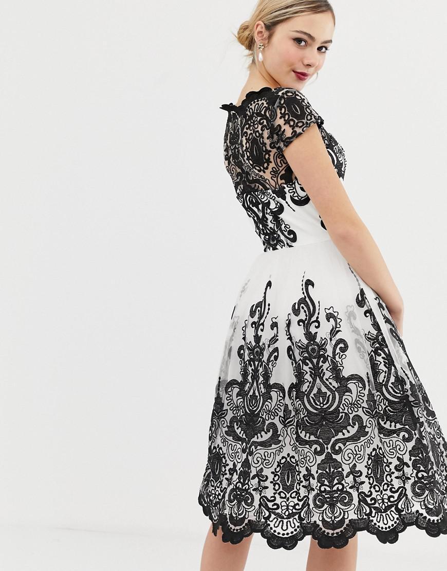 b3a34a93de02 Lyst - Chi Chi London Premium Lace Midi Prom Dress With Bardot Neck In Mono  in Black