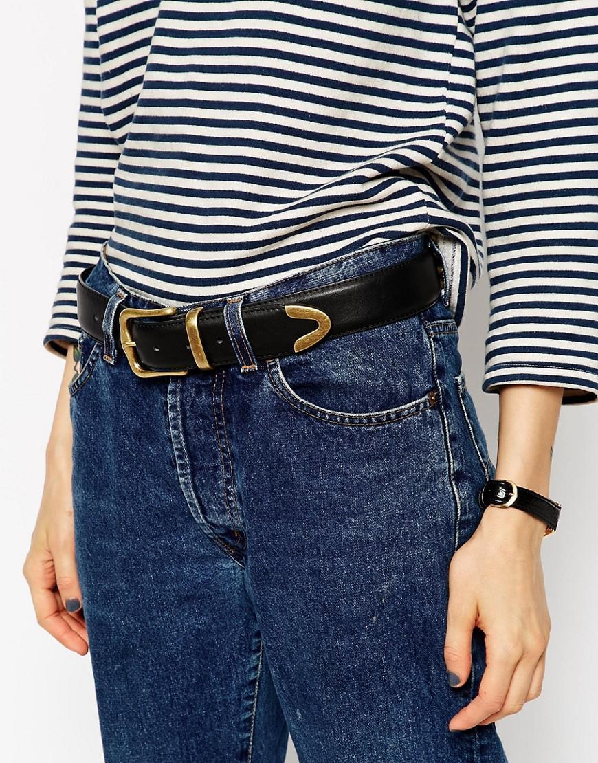 DESIGN vegan tipped end circle buckle jeans belt in water based pu - Black Asos uNKq59k