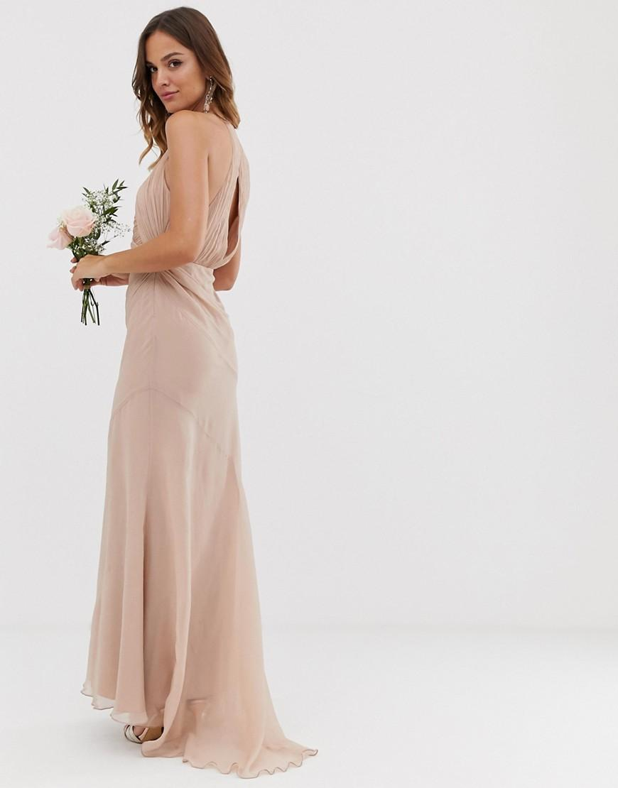 578a096d4c ASOS Bridesmaid Pinny Bodice Maxi Dress With Fishtail Skirt in Gray - Lyst