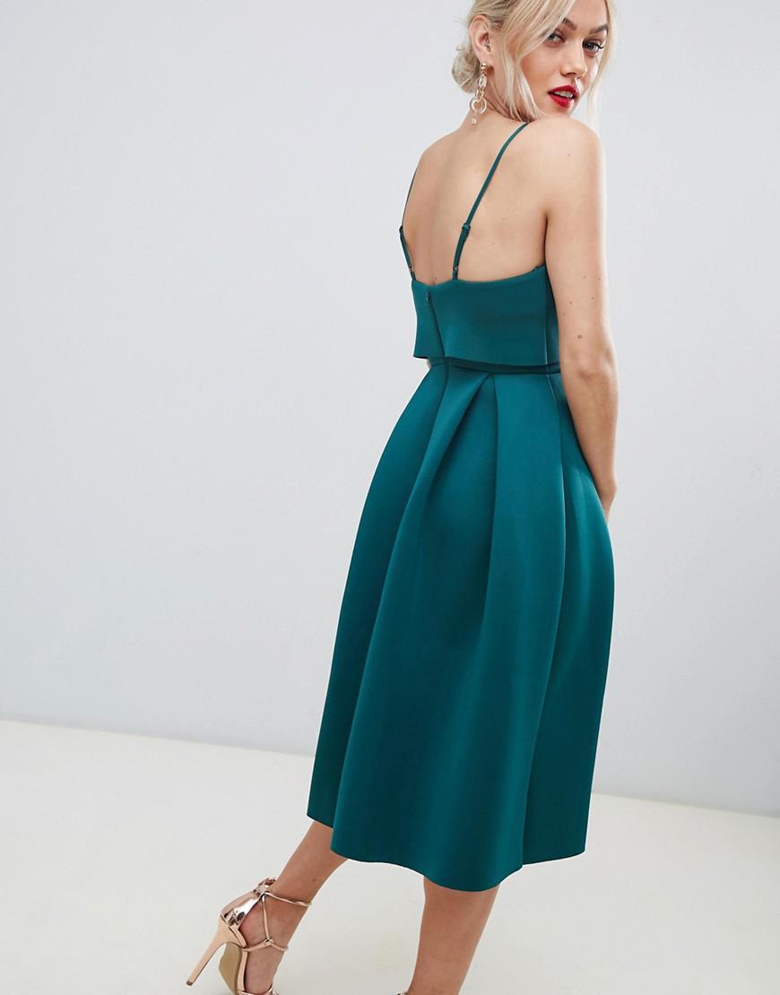 7d588a1442 ASOS Asos Design Petite Cami Bow Crop Top Prom Midi Dress in Green - Lyst