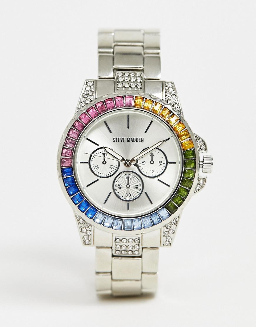 24acbe77e9e Steve Madden Metallic Womens Chronograph Watch With Rainbow Dial for men