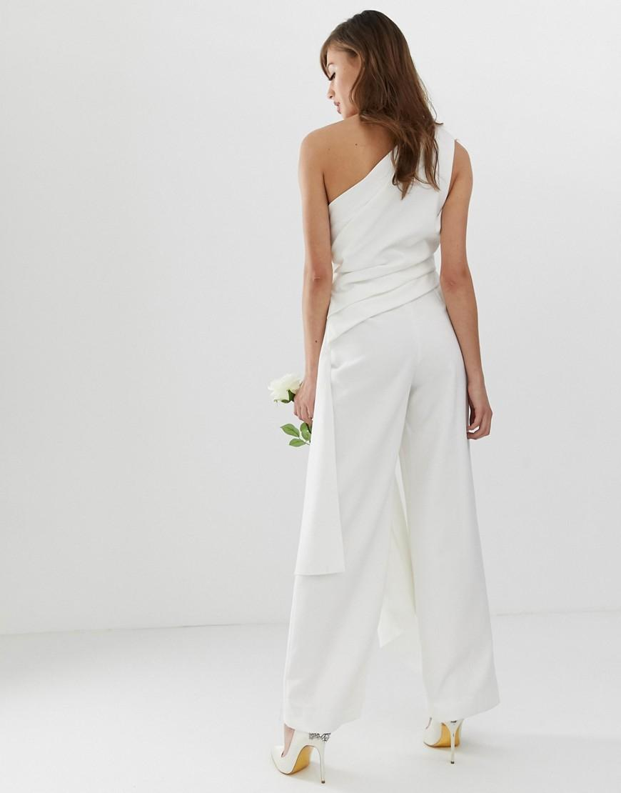 c7a8bef6a54 Lyst - ASOS One Shoulder Drape Side Jumpsuit in White