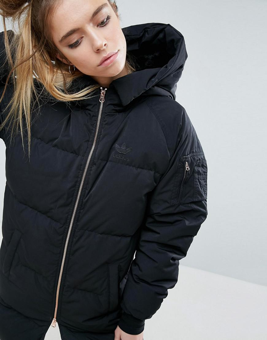 Lyst Adidas Long Bomber Jacket In Black
