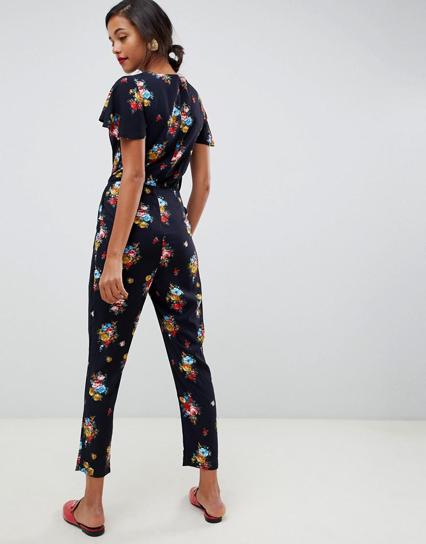 ddd3b0d96bc Lyst - Oasis Jumpsuit With Ruffle Cap Sleeves In Floral Print in Blue