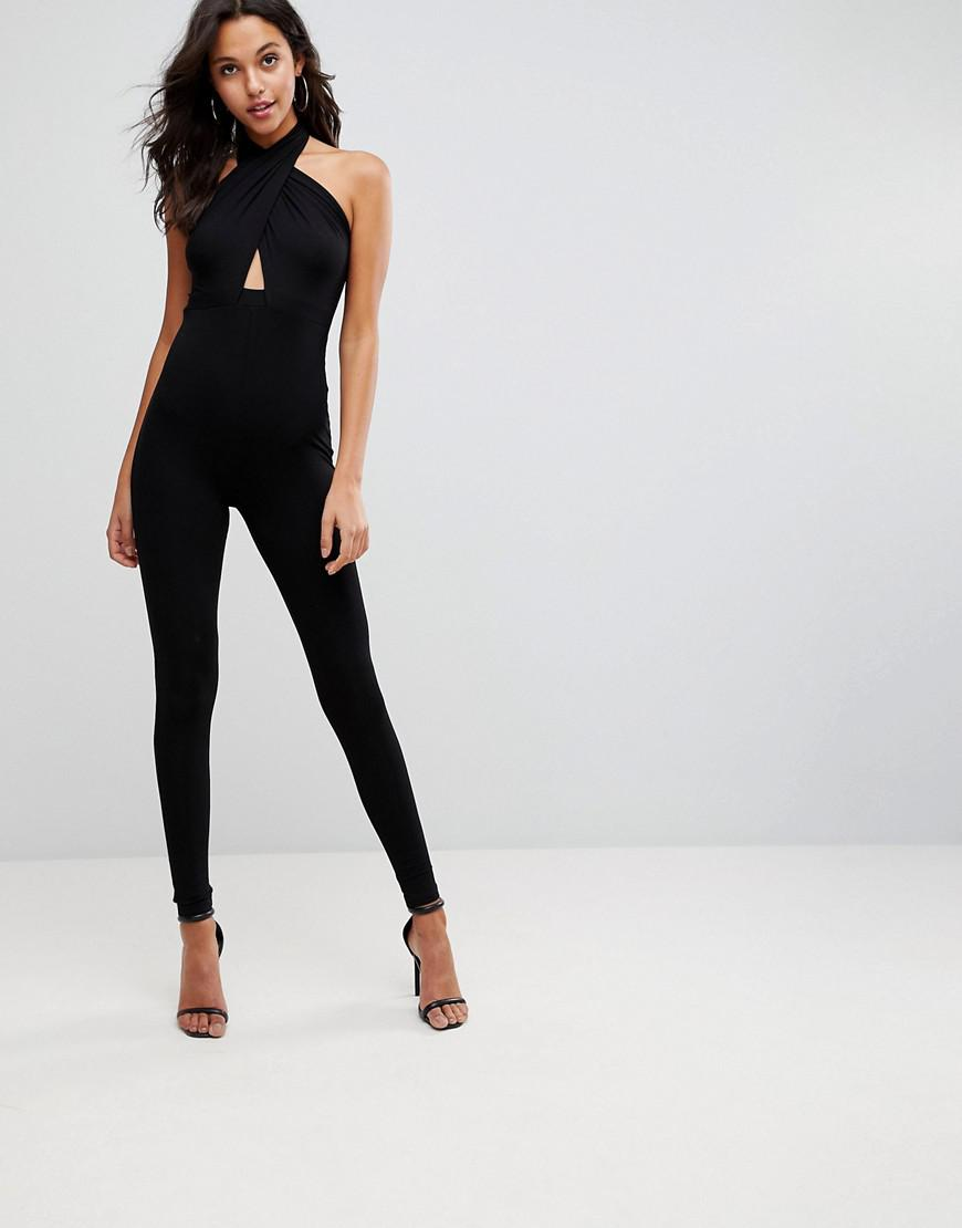 3a8072fac3b3 ASOS - Black Asos Jersey Jumpsuit With Cross Front And Skinny Leg - Lyst.  View fullscreen