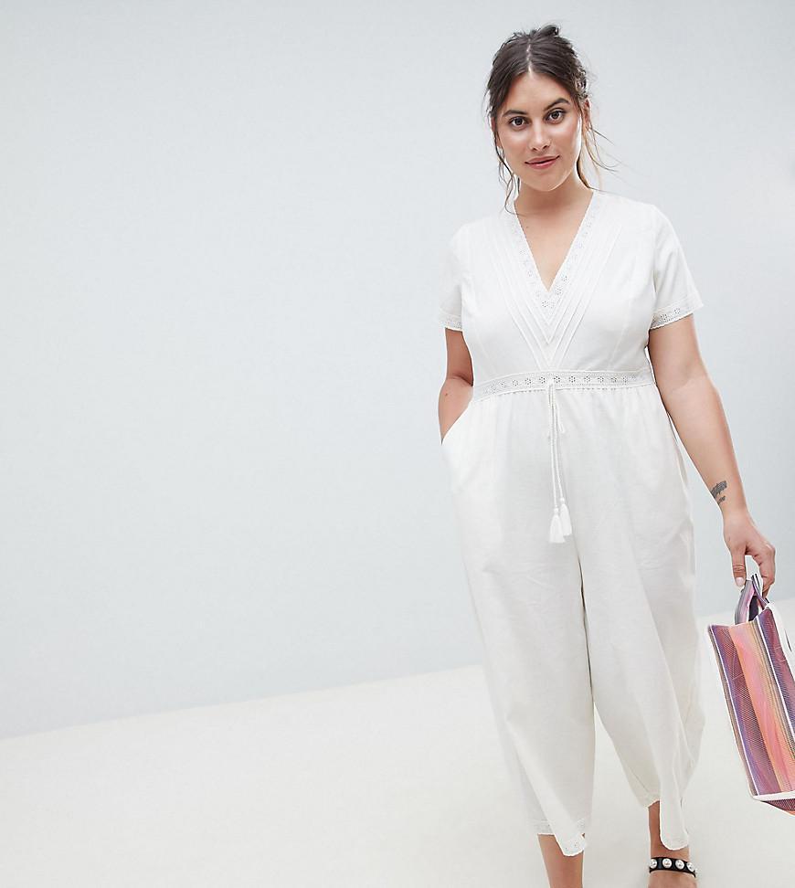 0988fa0e6c97 ASOS. Women s White Asos Design Curve Cotton Embroidered Jumpsuit With Tassel  Trim