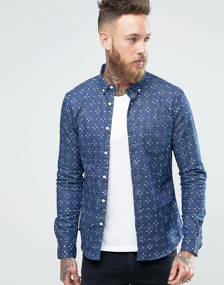 9a7b6a0200 Lyst - ASOS Skinny Denim Shirt With Cross Print In Rinse Wash in ...