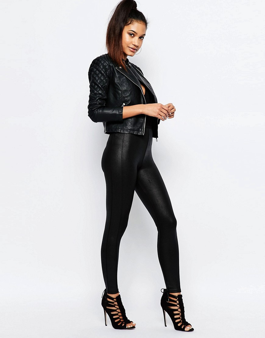 Lipsy Ariana Grande For Faux Leather Biker Jacket With