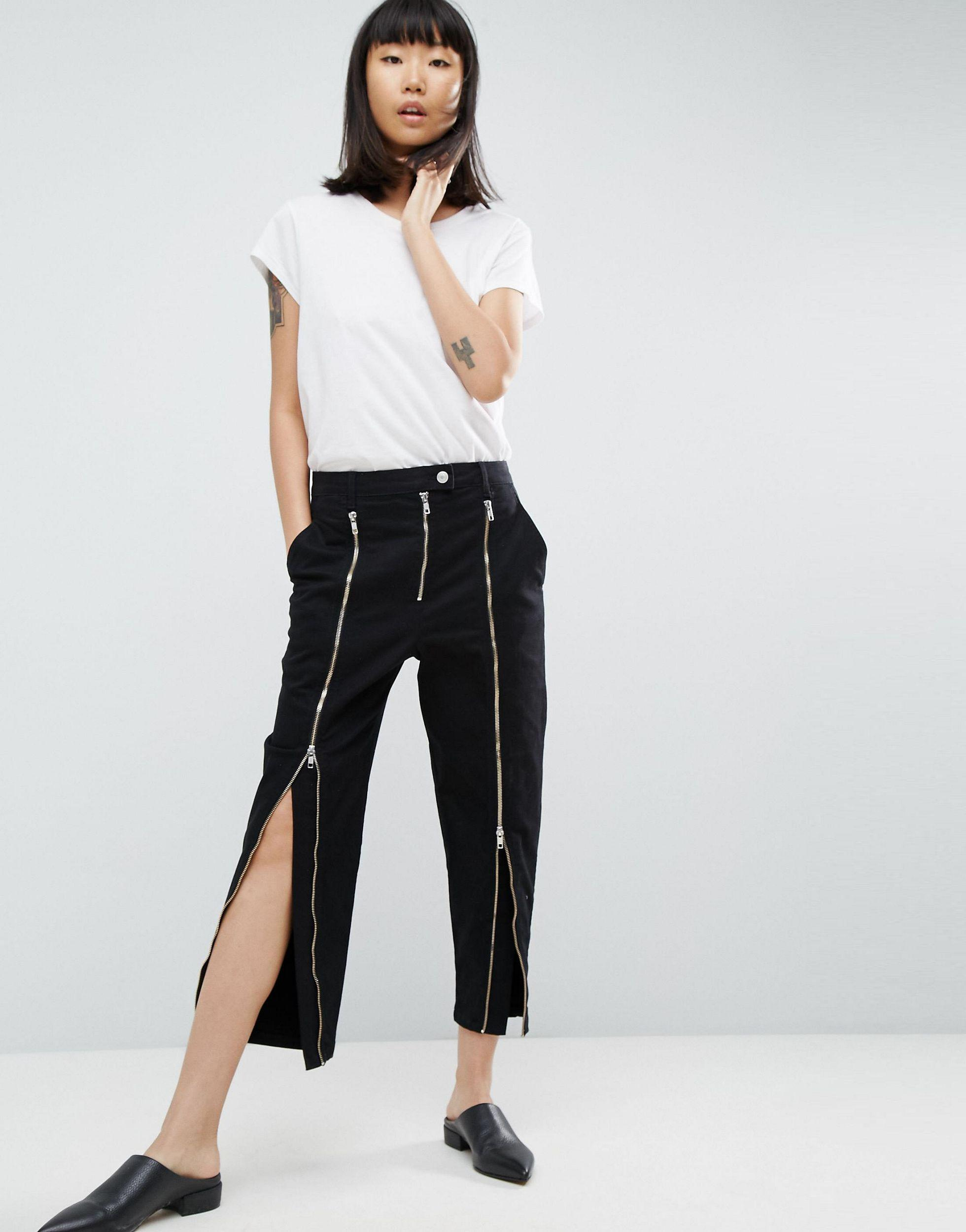 ASOS Denim Ovoid Jean With Zip Detail in Black