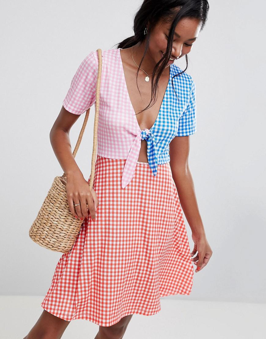 Cheap Wiki ASOS DESIGN Curve mini skater sundress with tie front in colour block gingham - Multi Asos Curve Outlet Extremely Discount Exclusive rJxaCmd1O