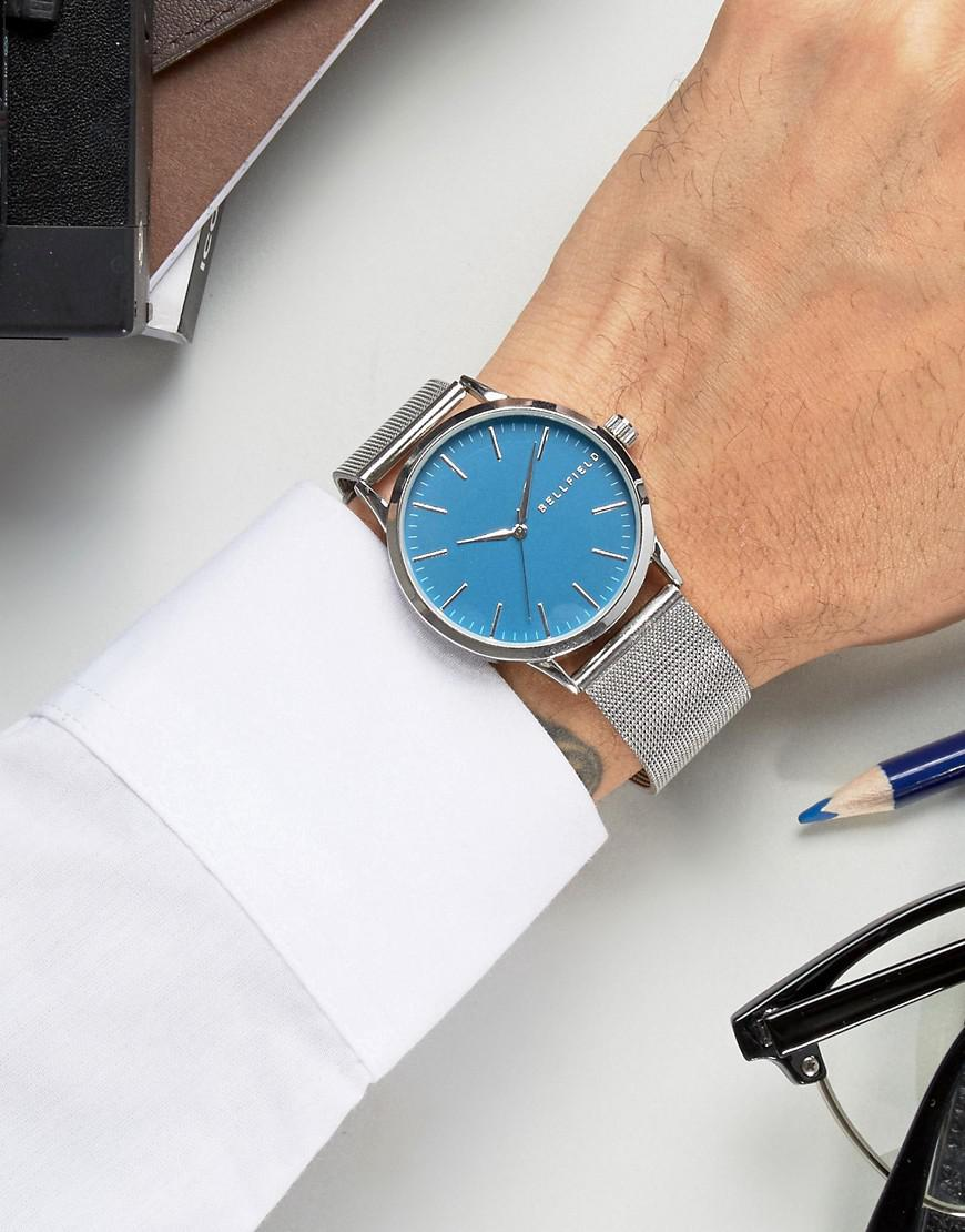 Lyst Bellfield Silver Watch With Round Blue Dial in Metallic for Men