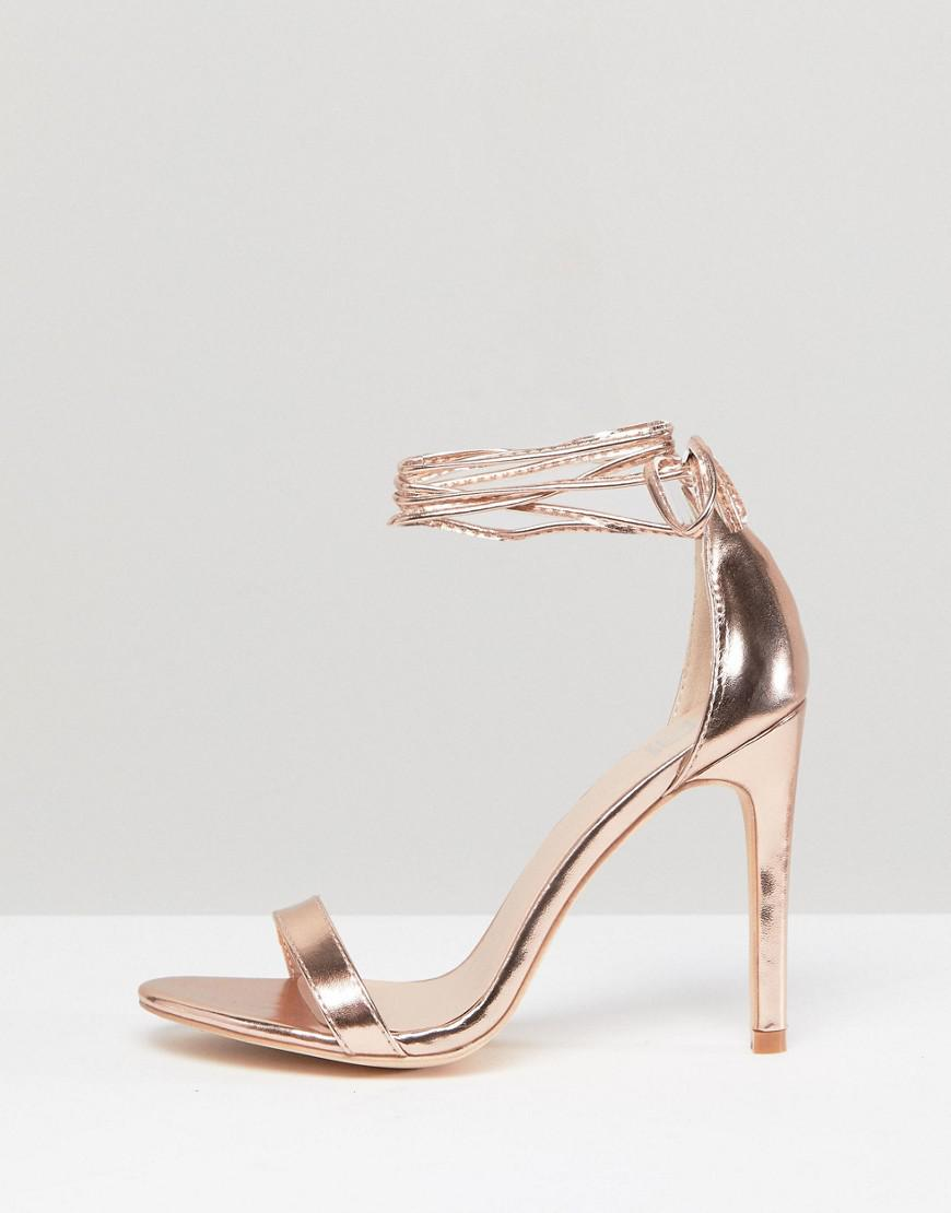 0bfc7bfe1e55 True Decadence Rose Gold Ankle Tie Heeled Sandals in Metallic - Lyst