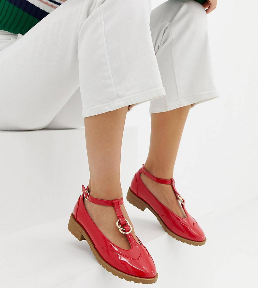 24f554ce13d3 ASOS - Red Wide Fit Maxy Double Ring Flat Shoes - Lyst. View fullscreen
